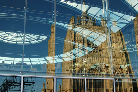 J Webb Reflection of St Peter mancroft in Forum