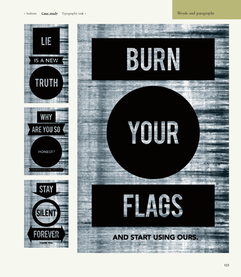 Burn your flags image from The Fundamentals of Typography