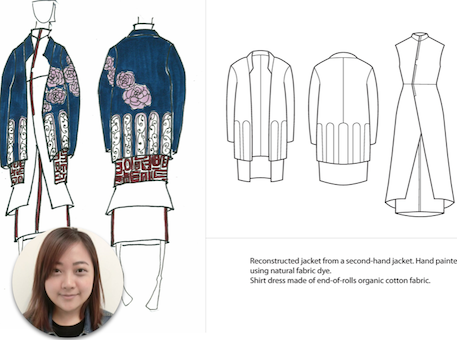 Name: Veronica, Hsiao Huei Lee Country: Malaysia Occupation: Student at Raffles Design Institute Singapore Design technique: Up-cycling
