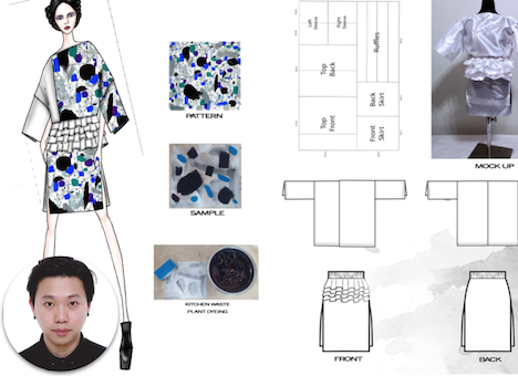 Name: Victor, Shing Hong Chu Region: Hong Kong /  Wildcard Finalist* Occupation: Student at The Hong Kong Polytechnic University Design technique: Zero-waste, up-cycling and reconstruction