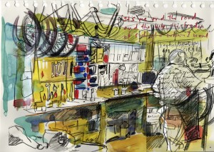 Sketch of a bike shop by Gary Embury