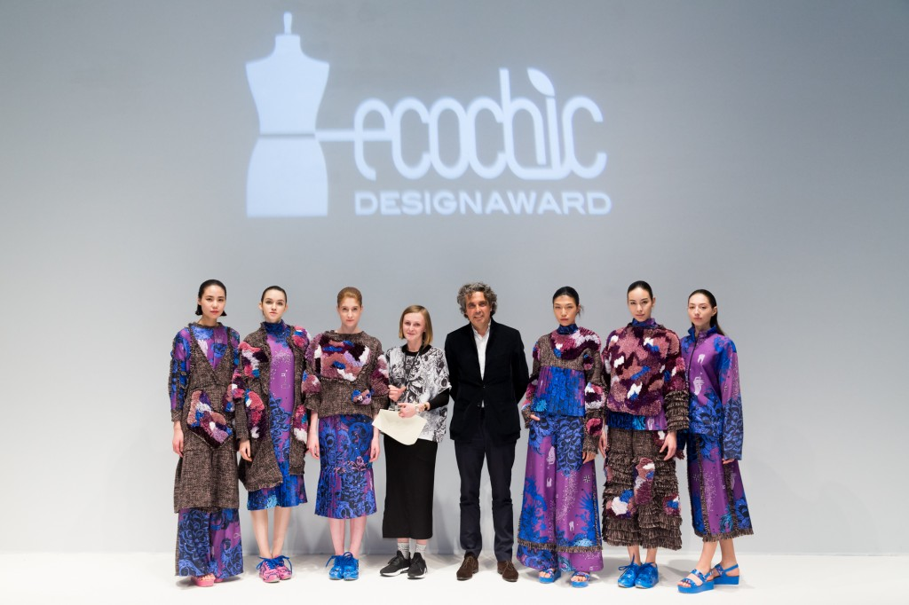 The EcoChic Design Award 2015-16 First Prize winner Patrycja Guzik with Shanghai Tang Executive Director Raphael le Manse