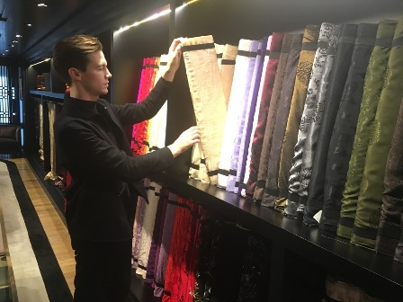 Kévin Germanier selecting materials at Shanghai Tang